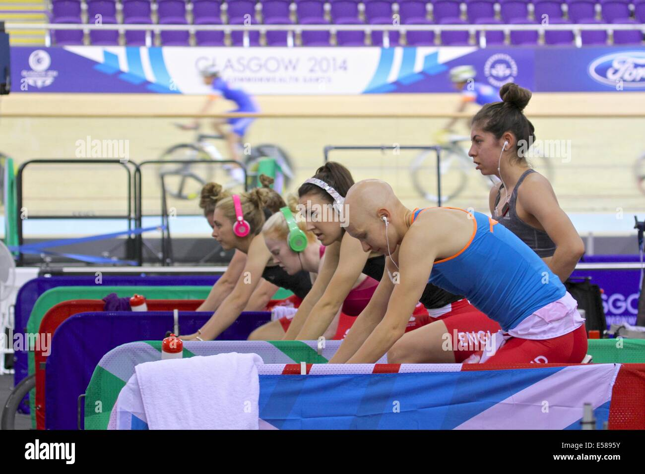 Glasgow, Scotland, UK. 23rd July 2014. The final training session at the Sir Chris Hoy Velodrome before the start Stock Photo