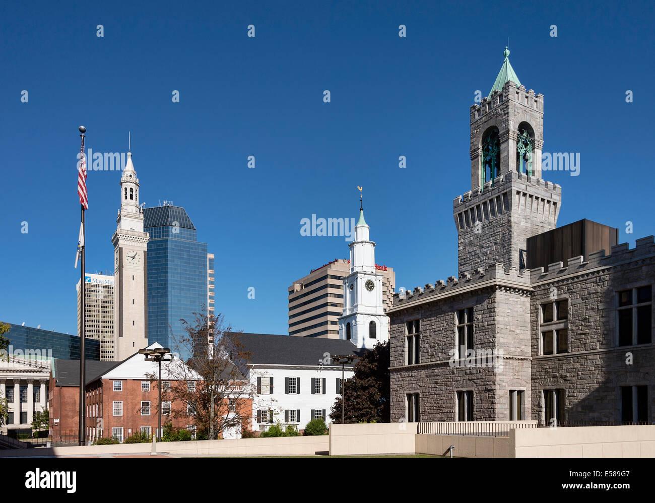 Downtown, Springfield, Massachusetts, USA - Stock Image