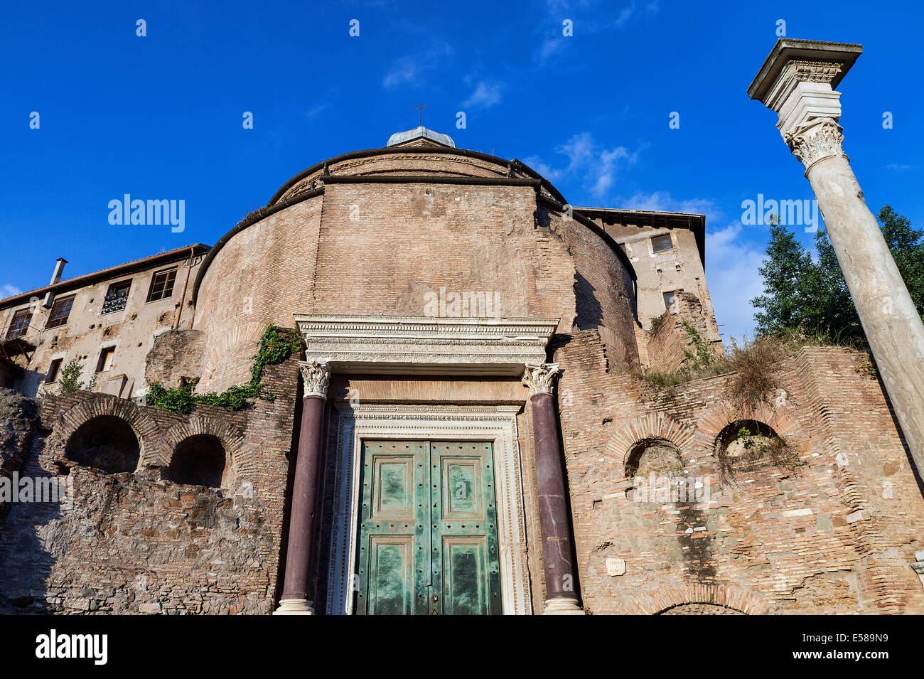 Santi Cosma e Damiano church located in  in the Roman Forum, Rome, Italy - Stock Image