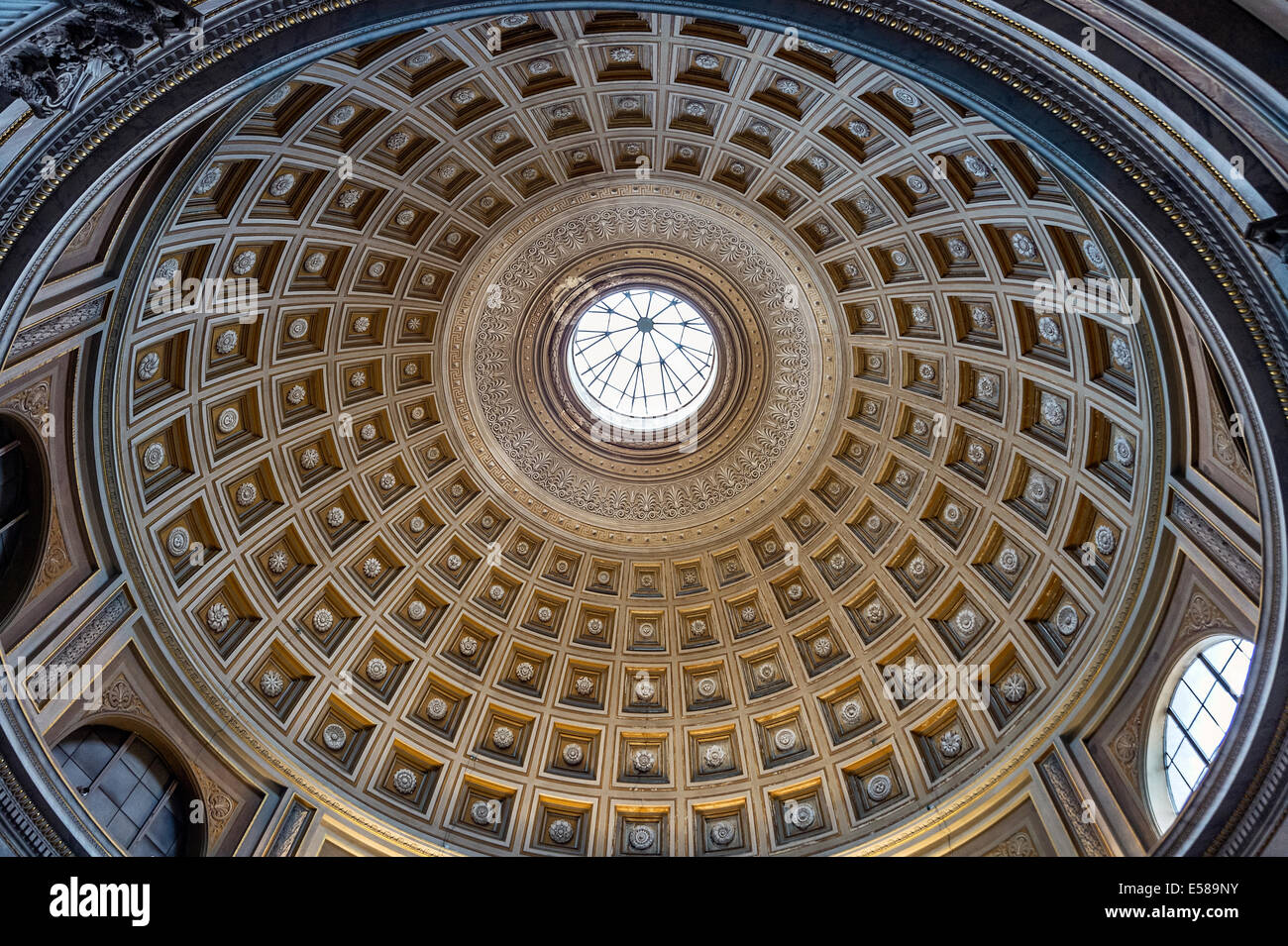 Coffered ceiling of the Sala Rotonda, Vatican Museums, Vatican City - Stock Image