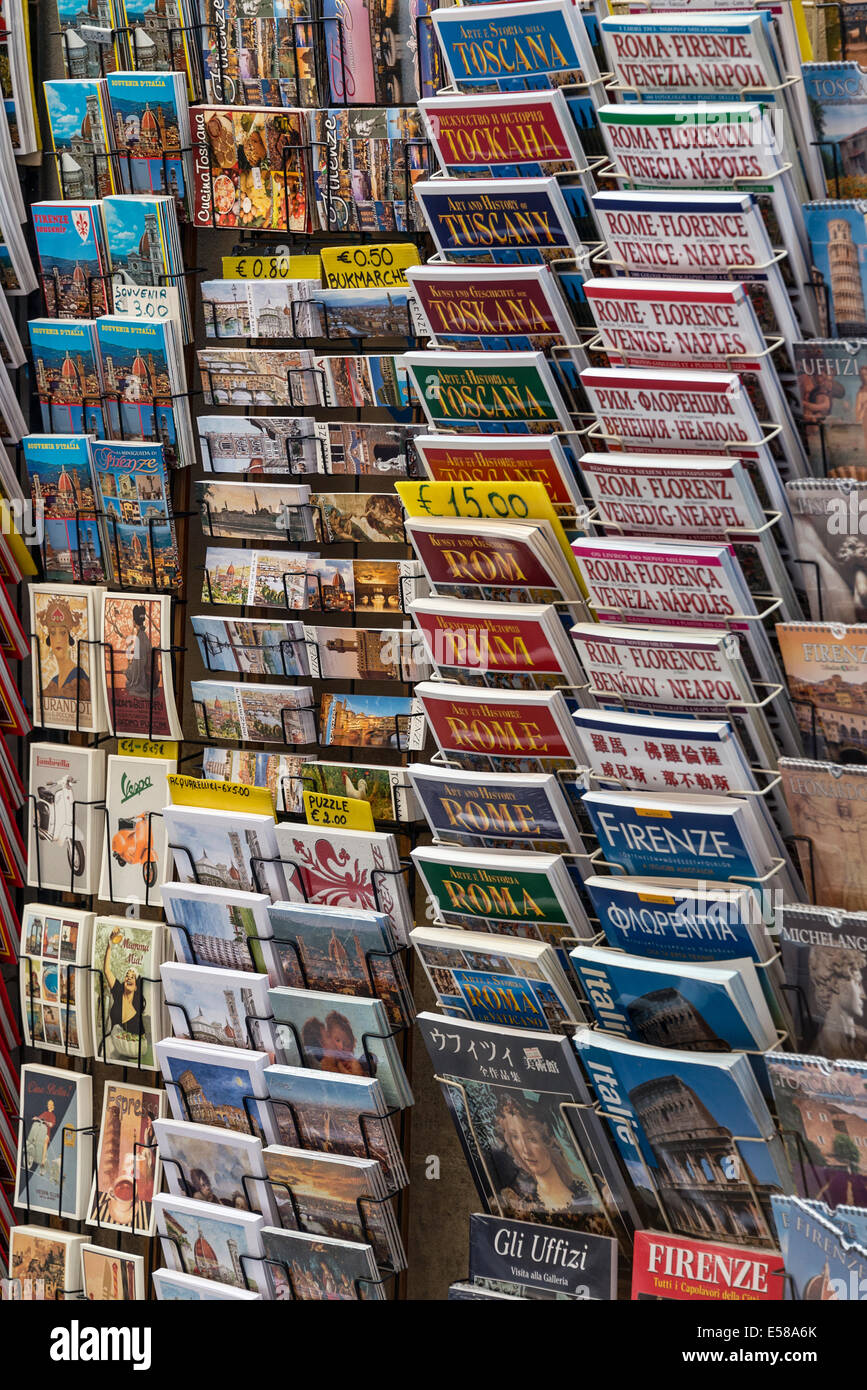 Variety of tourist travel guide books for Italian destinations. Stock Photo