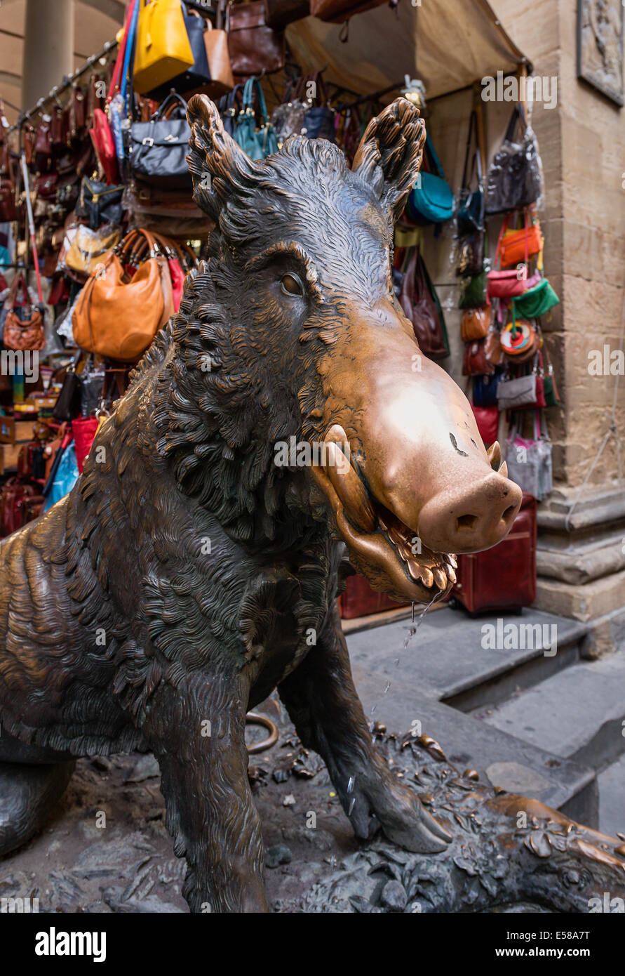 Il Porcellino sculpture at Mercato Nuovo, Florence, Italy - Stock Image
