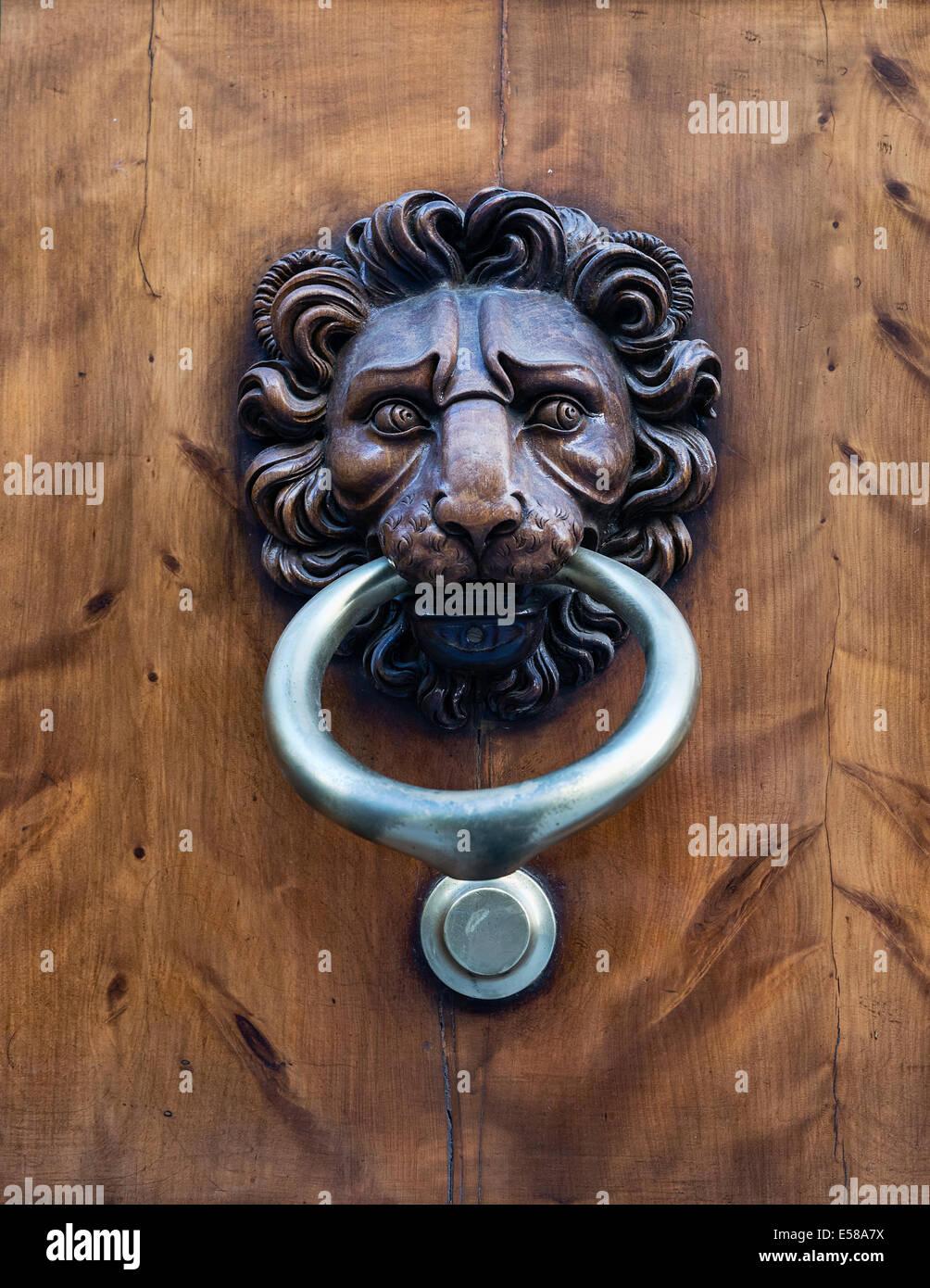 Decorative Lion Door Knocker, Florence, Italy Stock Photo ...
