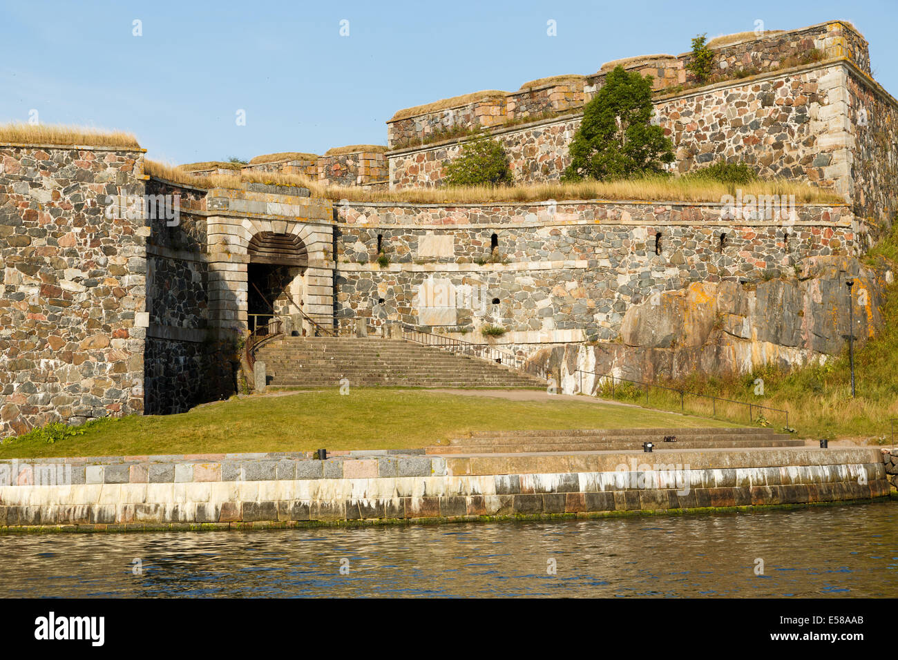 King's Gate is the historical landing stage of Suomenlinna sea fortress, protected by the World Heritage Fund - Stock Image