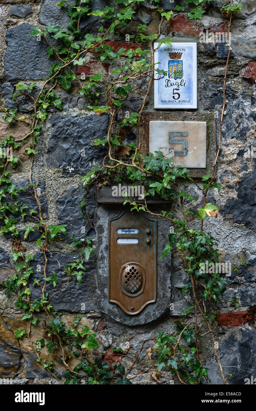 Rustic exterior wall with ivy, mailbox and house number, Porto Venere, Italy - Stock Image