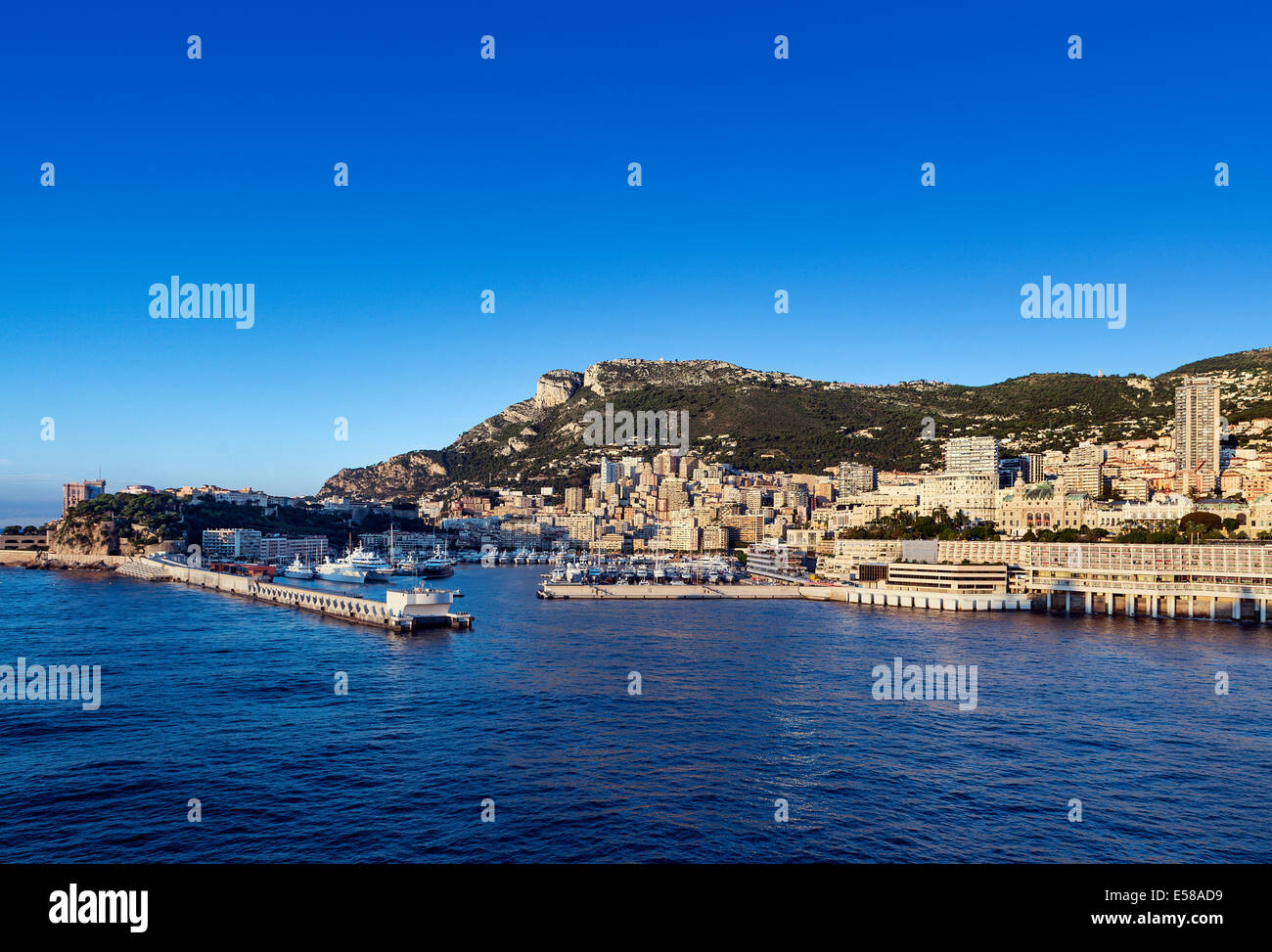 View of Fontvieille and harbor yachts, Monaco - Stock Image