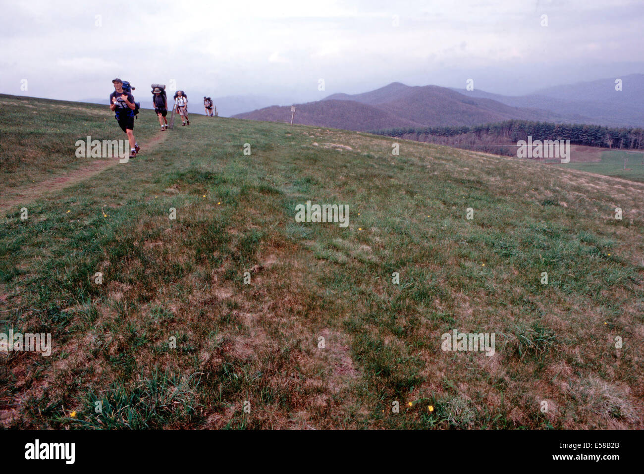 Hikers on The Appalachian Trail crossing the Max Patch bald,North Carolina - Stock Image