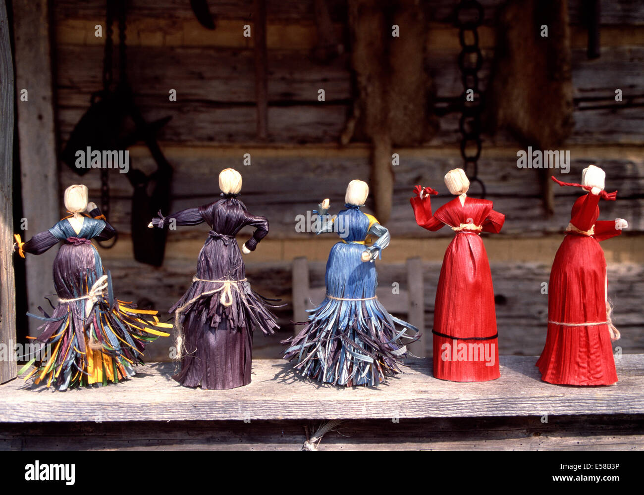 Corn husk dolls,Museum of Appalachia,Norris,Tennessee - Stock Image