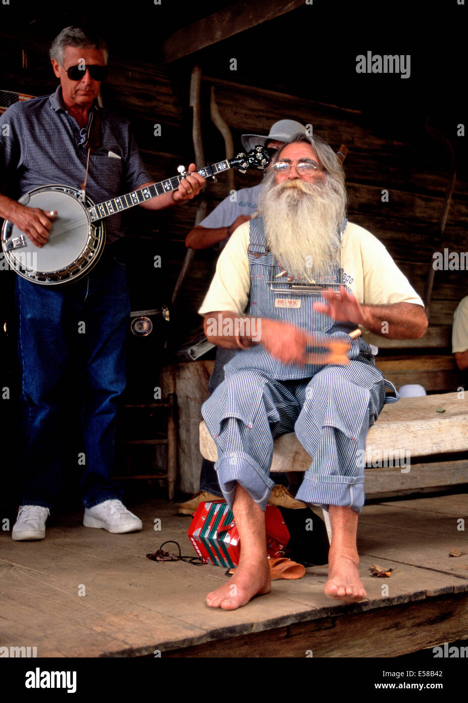 Toe tapping spoon player,Museum of Appalachia,Norris,Tennessee - Stock Image