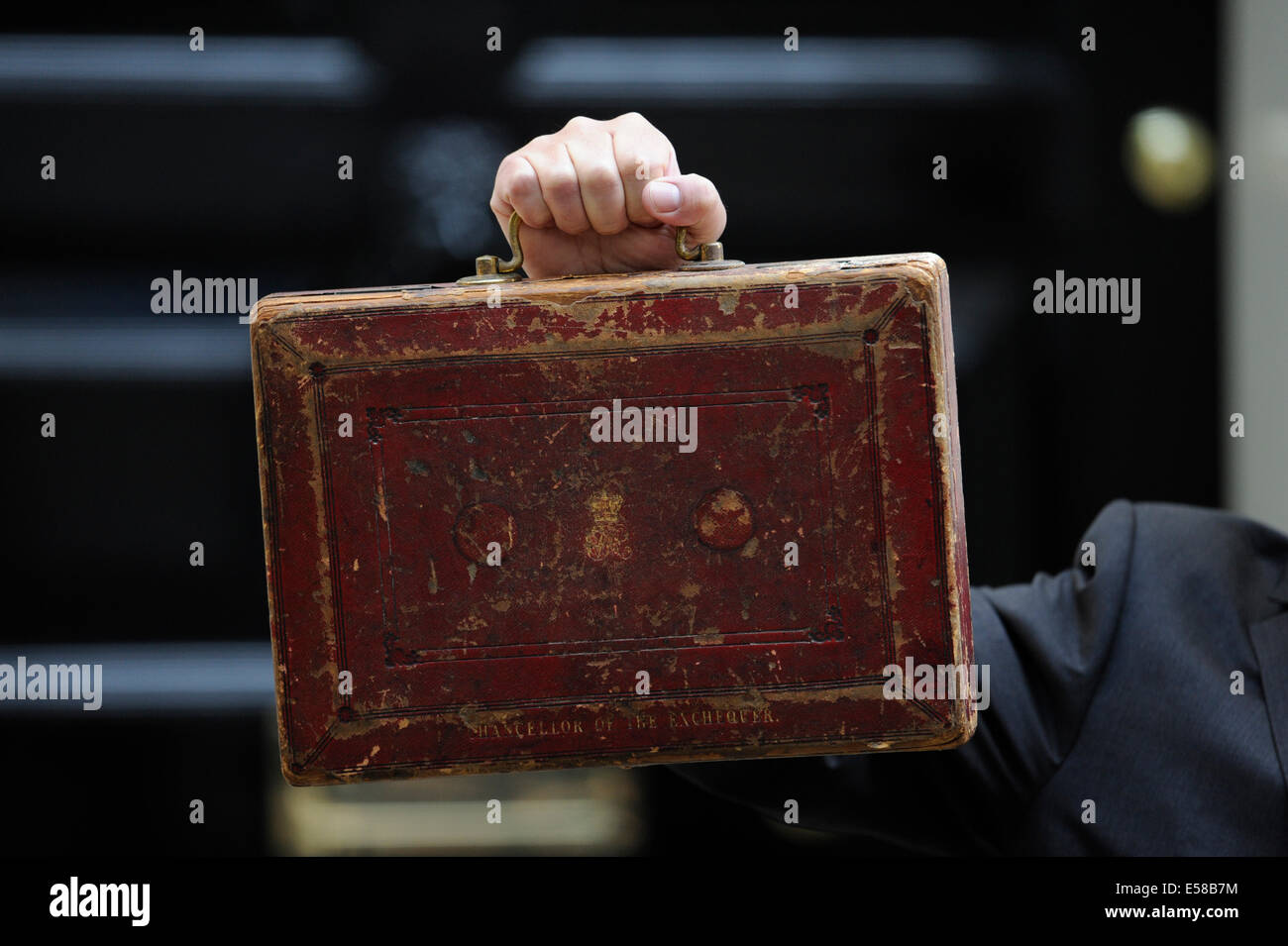 This 2009 pictured red briefcase is known as the 'budget box' or 'red box' and is a ministerial - Stock Image