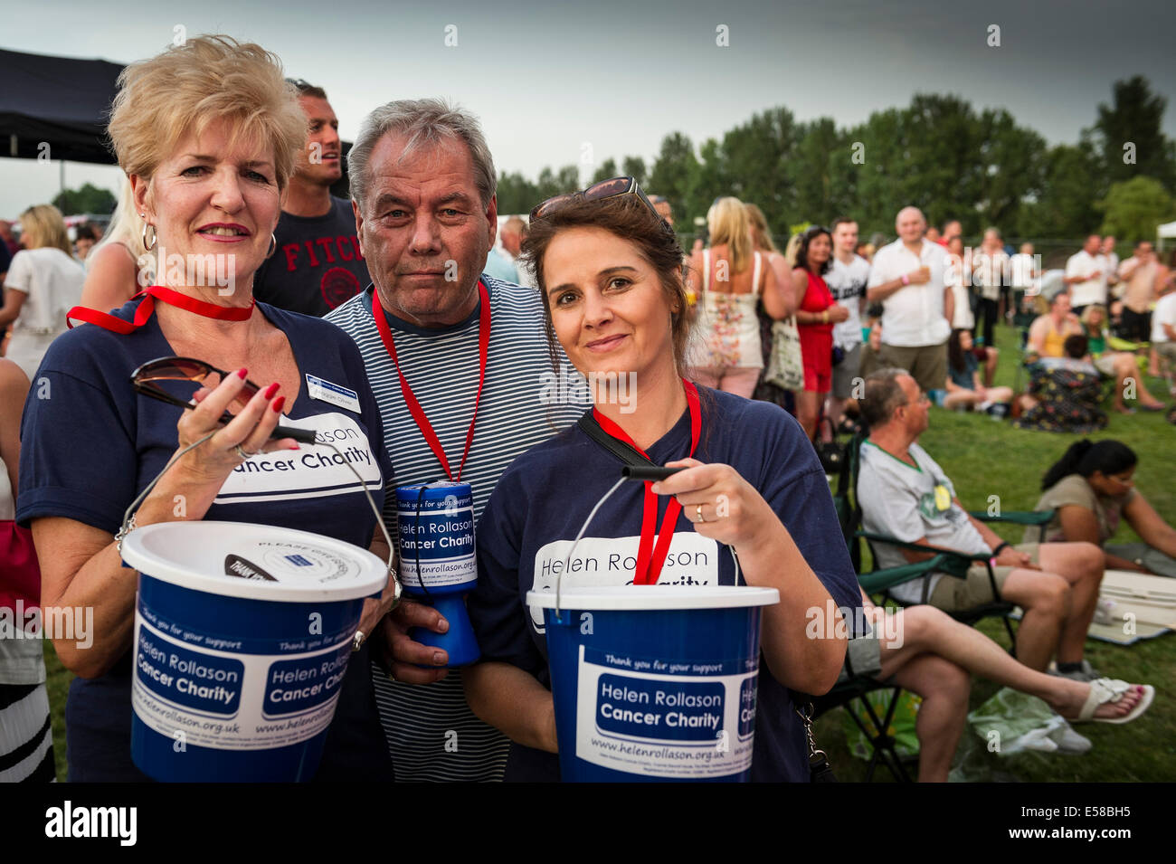 Volunteers collecting for the Helen Rollason Cancer Charity at the Brentwood Festival. - Stock Image
