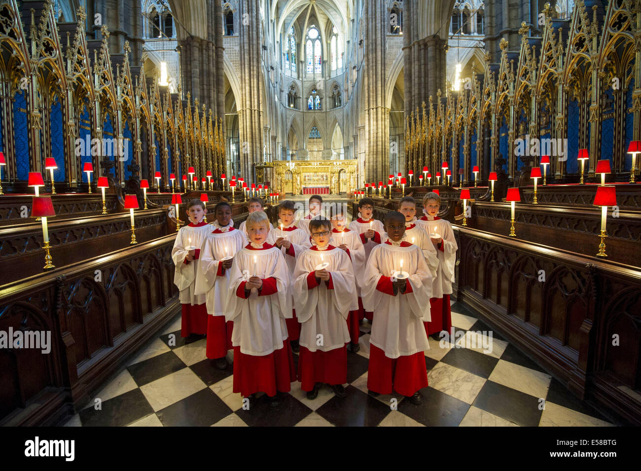 Westminster Abbey.Pic Shows Choir boys from Westminster Abbey rehearsing ahead of the Christmas events - Stock Image