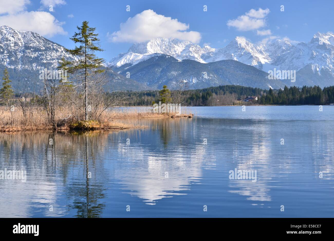 Barmsee near Mittenwald and Garmisch-Partenkirchen, Karwendel Gebirge in the background, Upper Bavaria, Oberbayern, - Stock Image