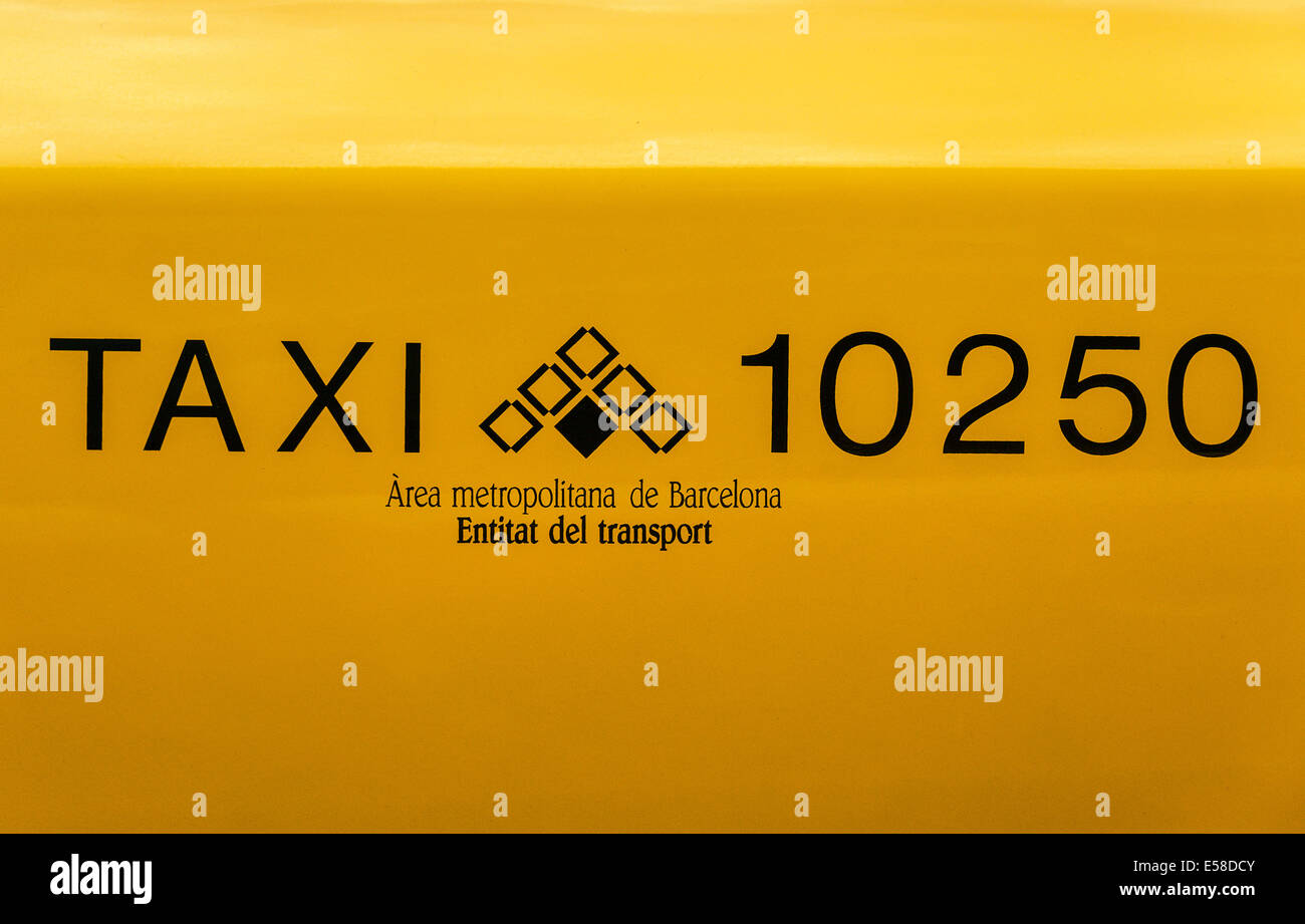Taxi detail, Barcelona, Spain - Stock Image