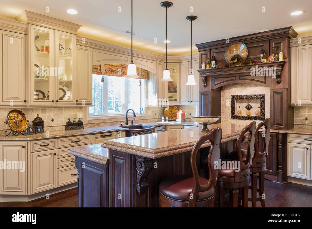 Upscale kitchen interior design. - Stock Image