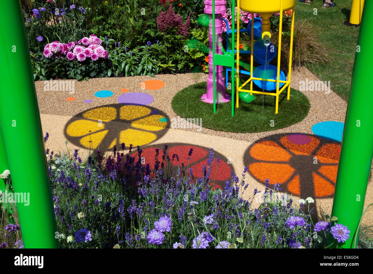 Tatton Park, Manchester, UK. 23rd July, 2014.  Circular Images. and Coloured shadows on garden pathway at the RHS - Stock Image