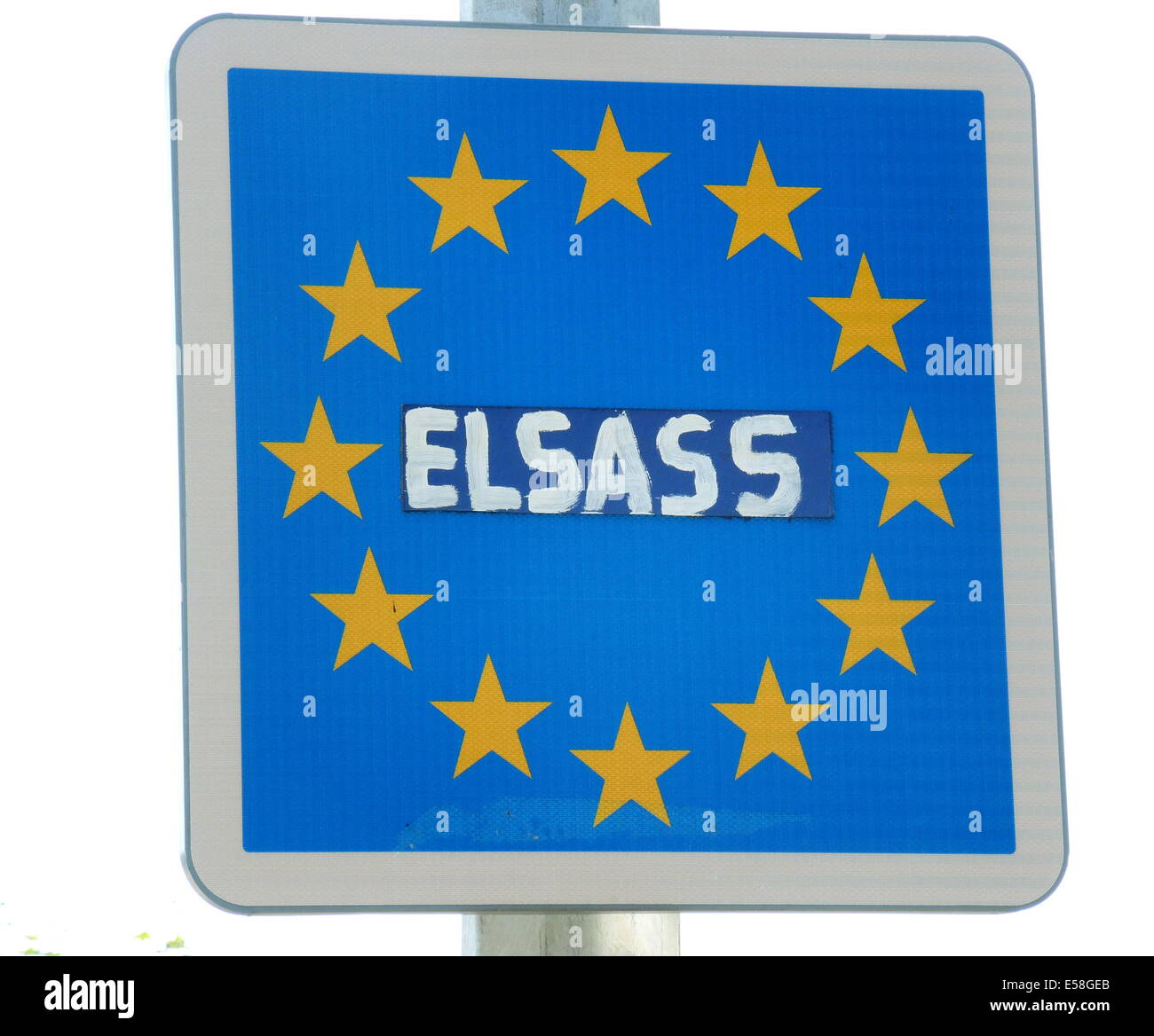 The EU - boarder sign with the original imprint 'France' at the frontier between the german village of Sasbach - Stock Image