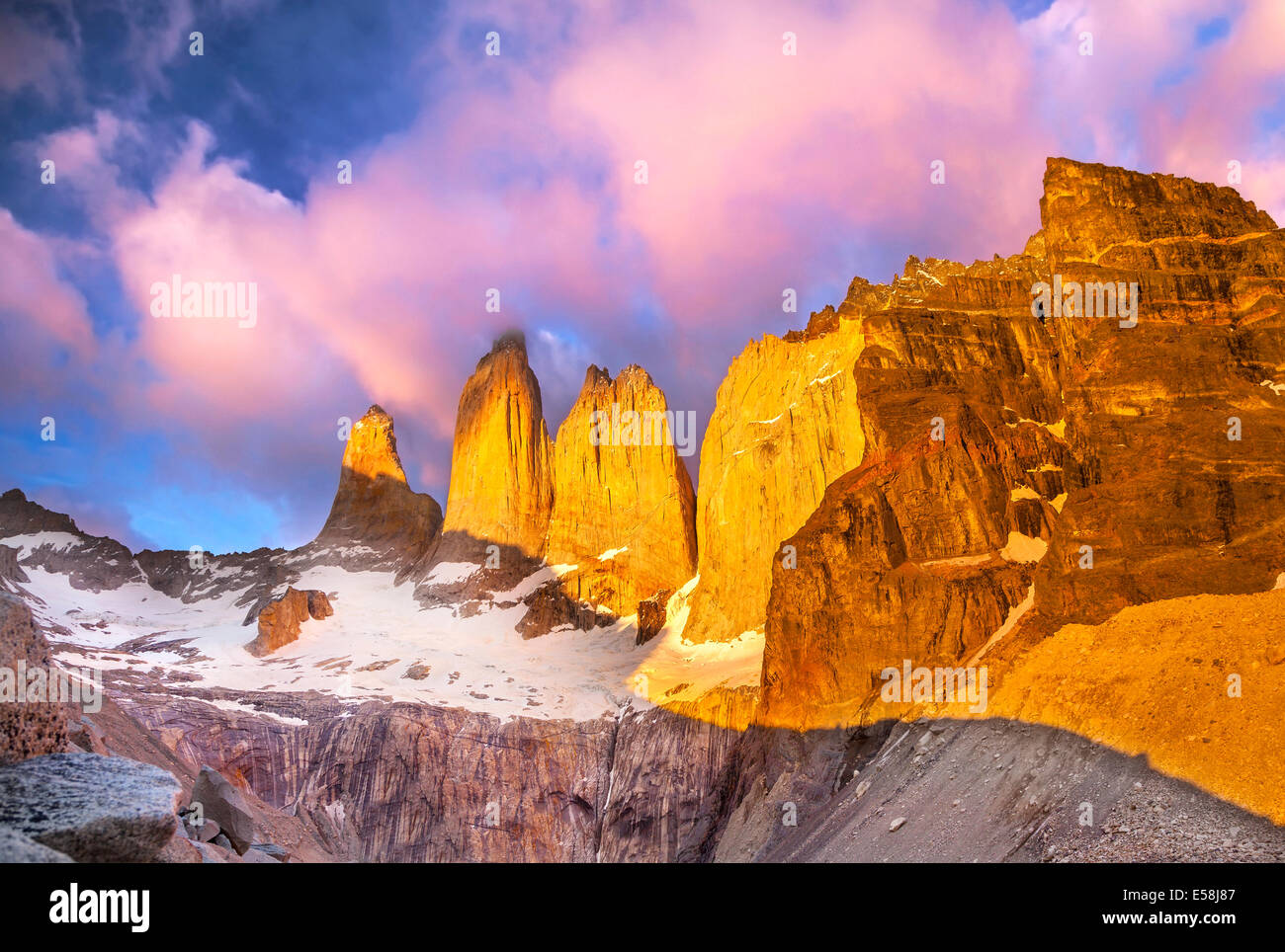 Beautiful sunrise in Torres del Paine national park, Patagonia, Chile - Stock Image