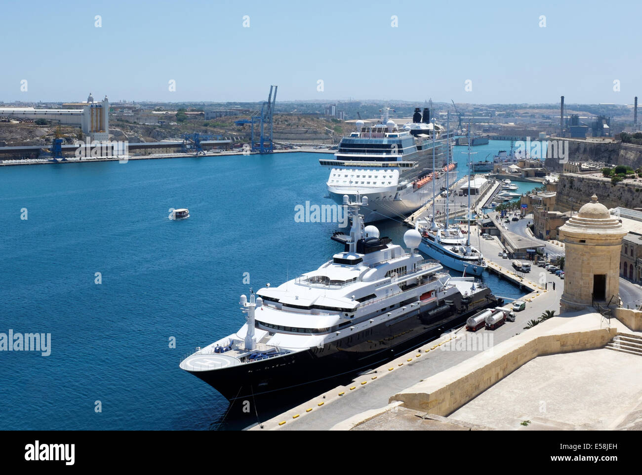 Octopus Super Yacht Moored In Valletta Grand Harbour Malta With Le