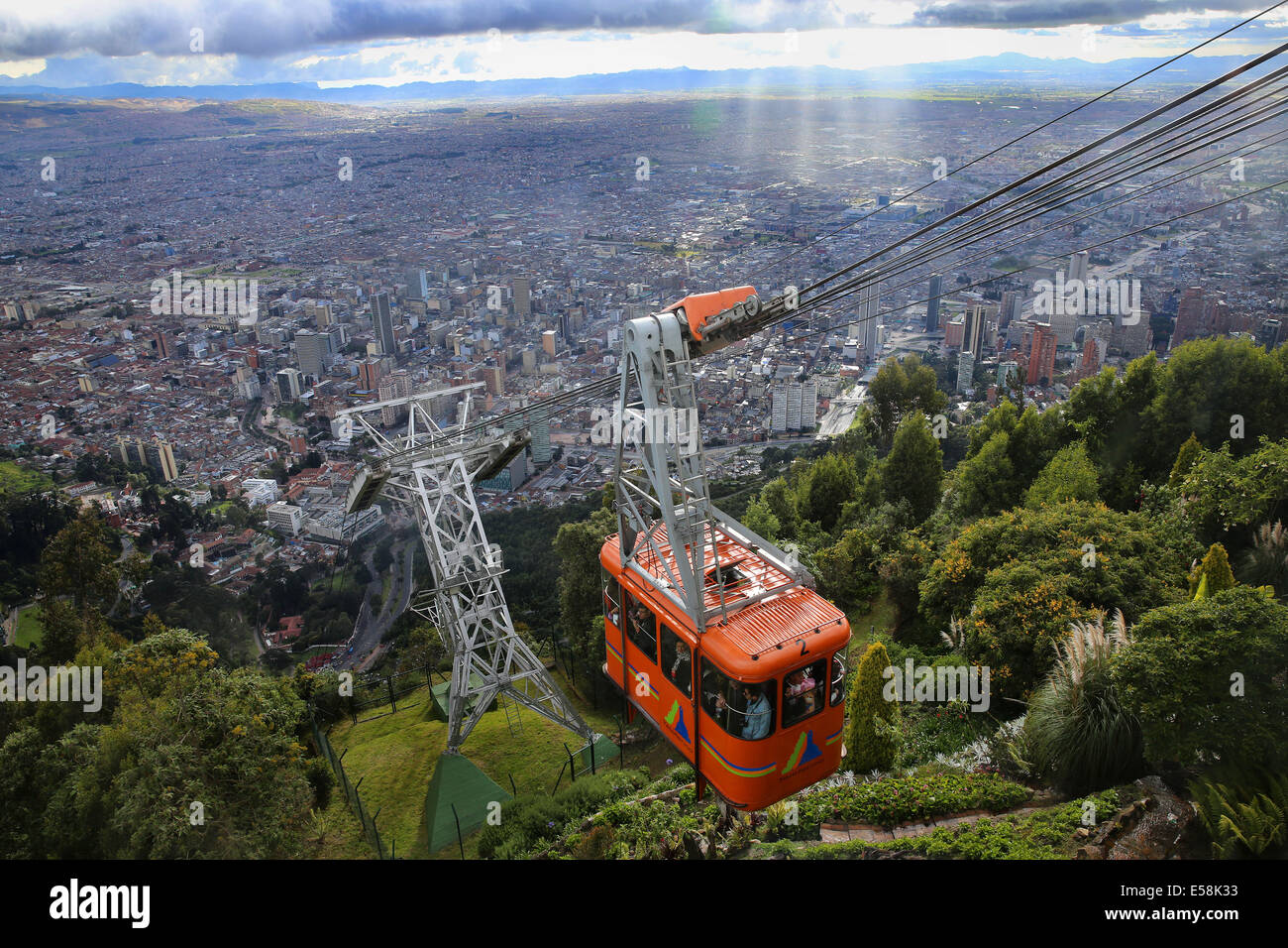 Cable Automotive Oklahoma City : Teleferico cable car going up to monserrate mountain