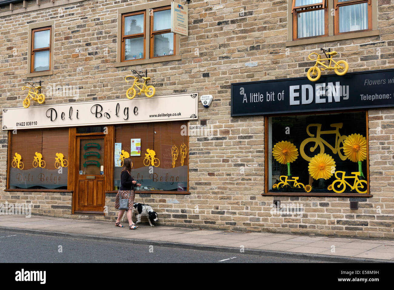 Shops in the town centre welcoming the Tour de France in Yorkshire, Sowerby Bridge, West Yorkshire - Stock Image