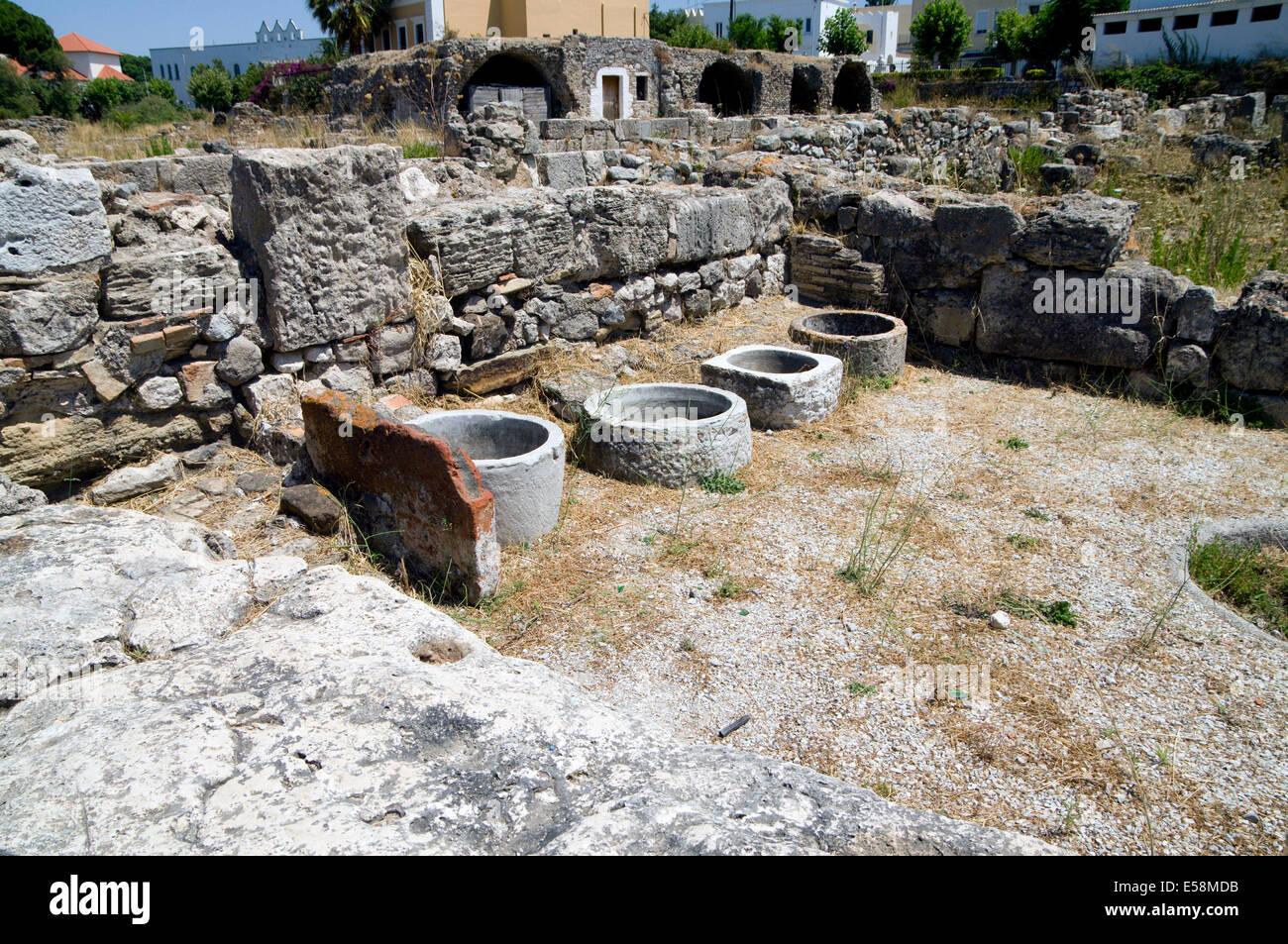 Remains of the Ancient Agora,  Kos Town, Kos Island, Dodecanese Islands, Greece. Stock Photo