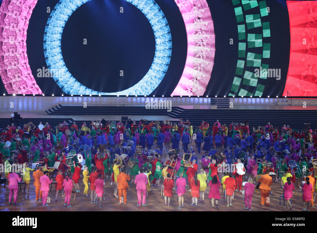 Glasgow, Scotland, UK. 23rd July, 2014. Dancers performing at the Glasgow 2014 Commonwealth Games Opening Ceremony Stock Photo