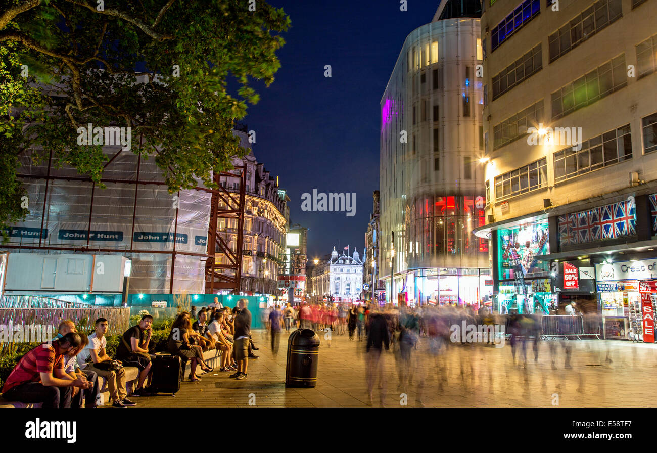 Leicester Square Night London UK Stock Photo