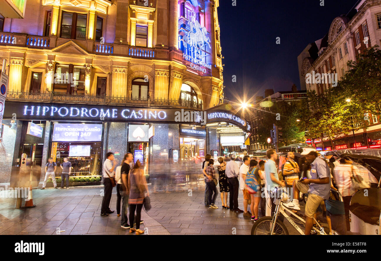 Leicester Square Night London UK - Stock Image