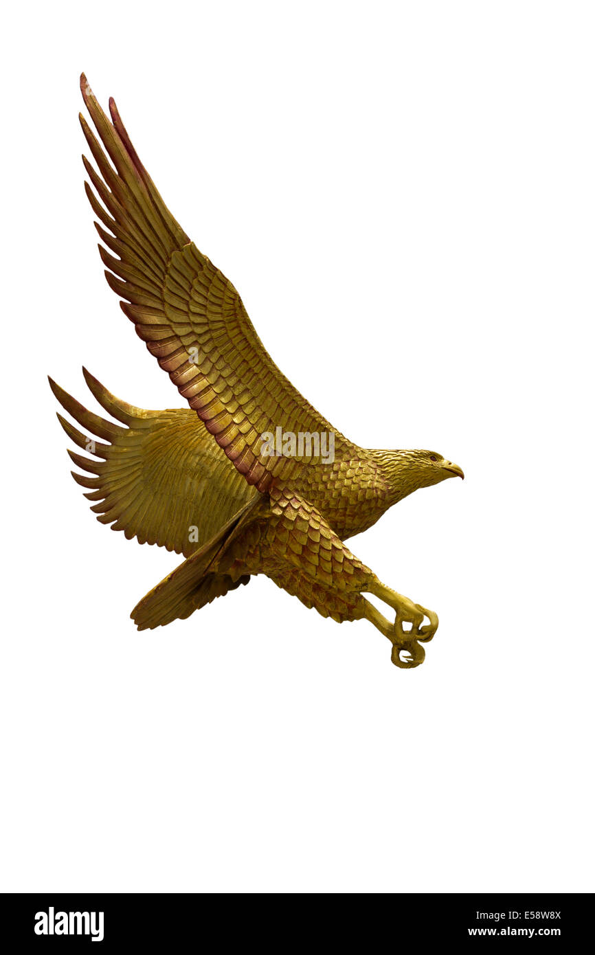 Golden eagle statue with big expanded wings Stock Photo - Stock Image