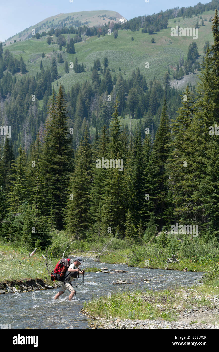 Backpacker fording a stream in Oregon's Wallowa Mountains. - Stock Image