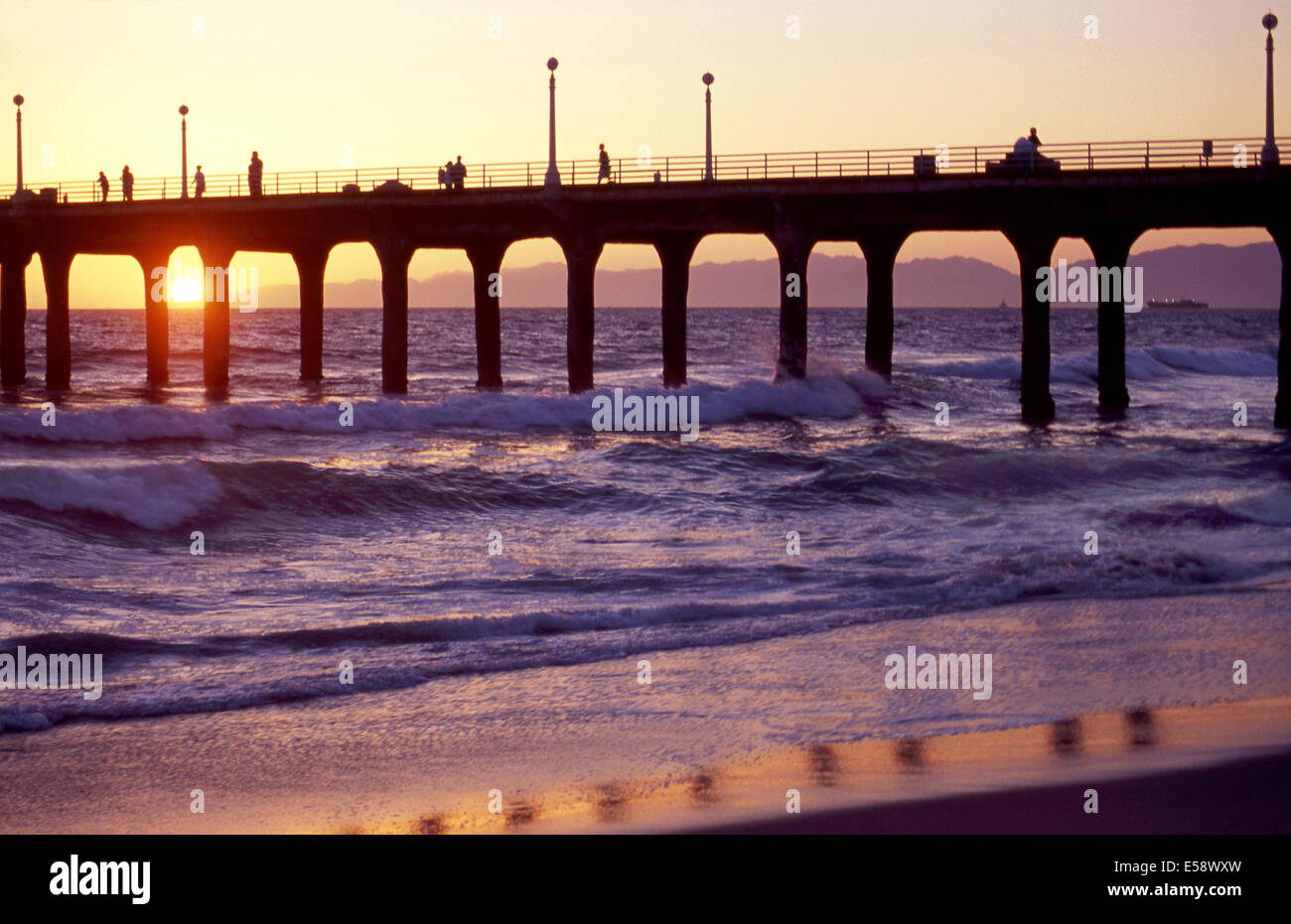 Sunset at Manhattan Beach Pier - Stock Image