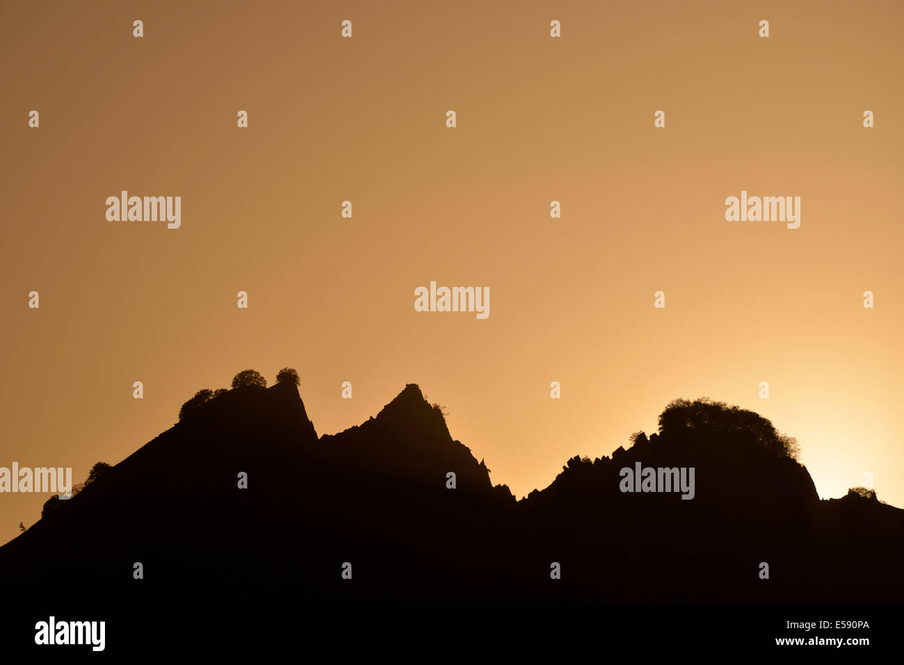Sunset over the mountains near the village of Lahic, Caucasus Mountains, Azerbaijan - Stock Image