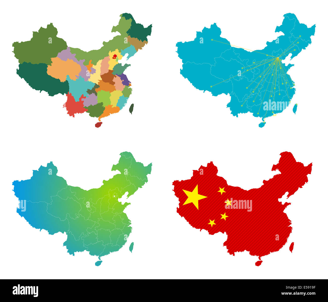China map set - Stock Image