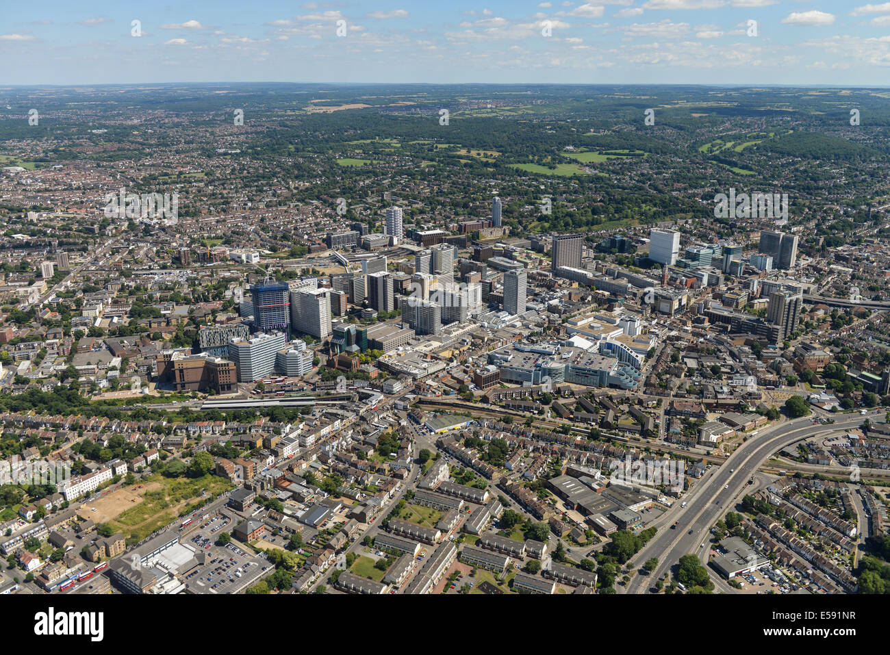 An aerial view of the centre of Croydon with Lloyd Park and Coombe Park visible in the distance. - Stock Image