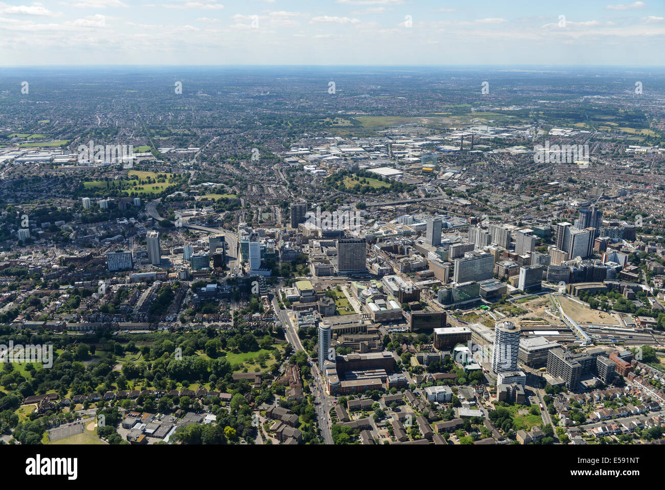 An aerial view of Croydon town centre and surroundings. - Stock Image