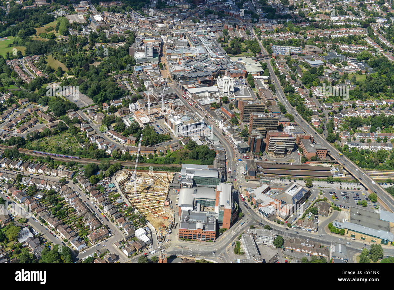 An aerial view showing the centre of Bromley, Greater London, UK. - Stock Image