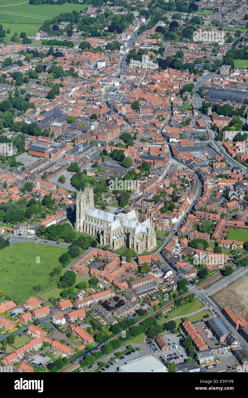 An aerial view of the centre of Beverley. A town in East Yorkshire, UK. Stock Photo