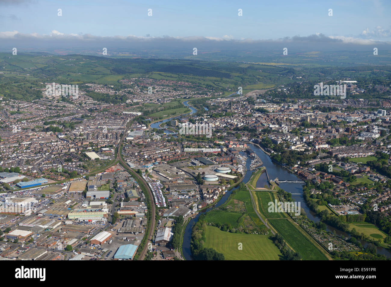An aerial view looking north along the River Exe towards Exeter City Centre in Devon, UK - Stock Image