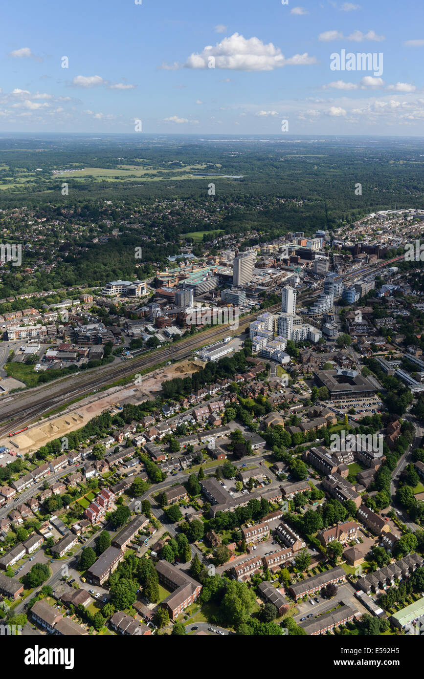An aerial view showing the centre of Woking in Surrey, United Kingdom. - Stock Image