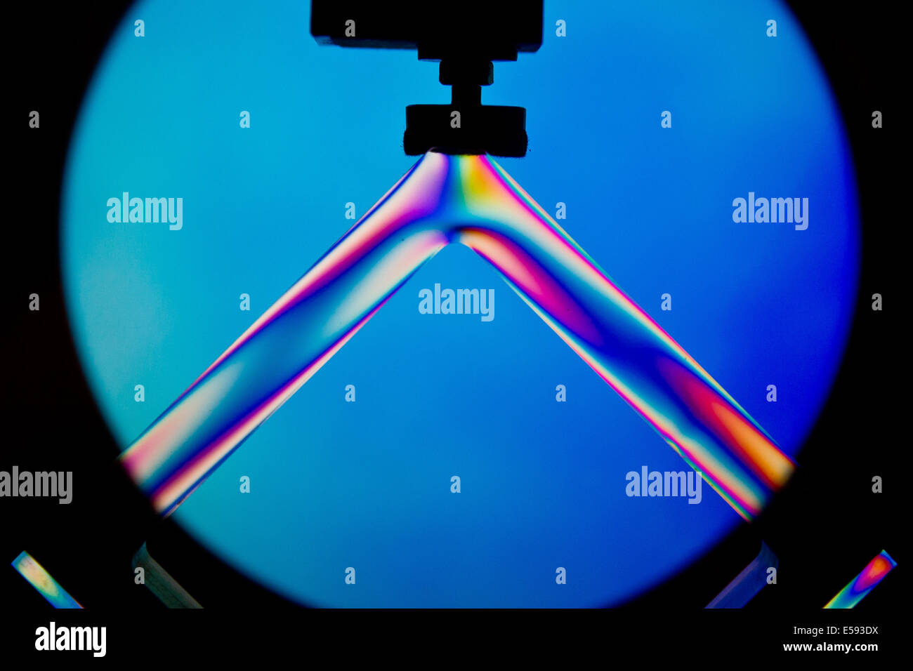 Nuremberg, Germany. 23rd July, 2014. In an experiment visitors can see color spectrums on a piece of plexiglass - Stock Image