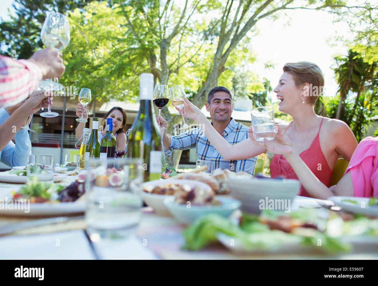Friends toasting each other at party - Stock Image