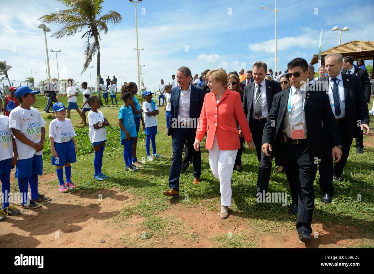Brazil, Salvador da Bahia, Chancellor Merkel visiting social