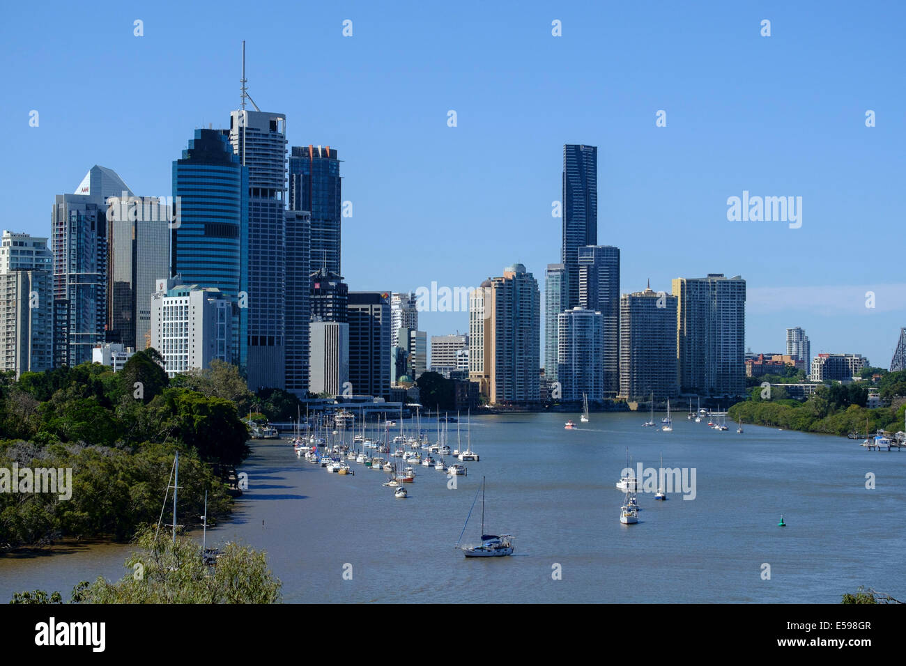 Brisbane views at Kangaroo Point - Stock Image