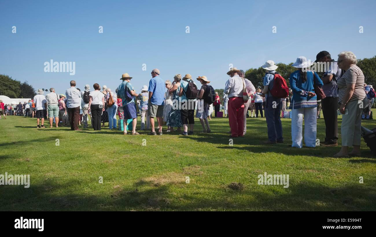 Scenes from member's Day at the Royal Horticultural Show in Cheshire, July 2014: long queues wait patiently - Stock Image