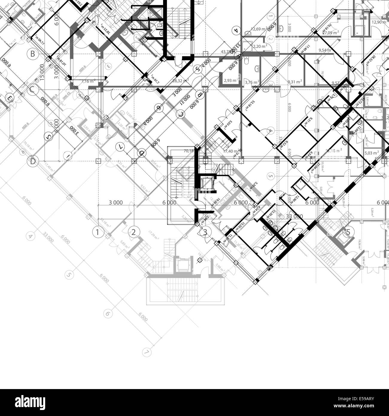 Architectural Black And White Background With Plans Of Building