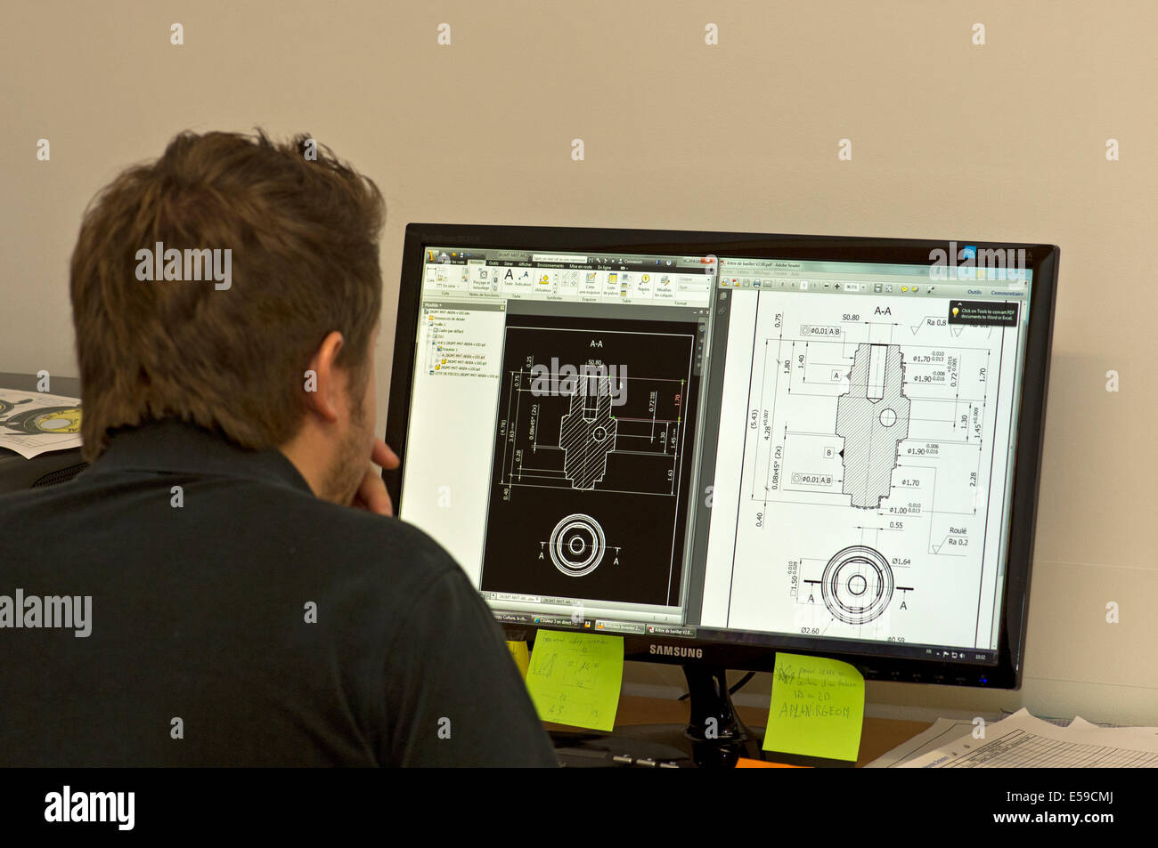 Engineer doing computer-aided design for parts of wrist watches, Manufacture d'horlogerie Voutilainen, Motiers, - Stock Image