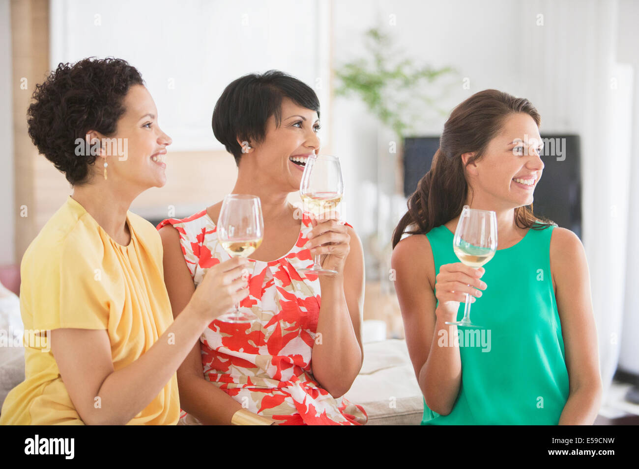 Women drinking wine together - Stock Image