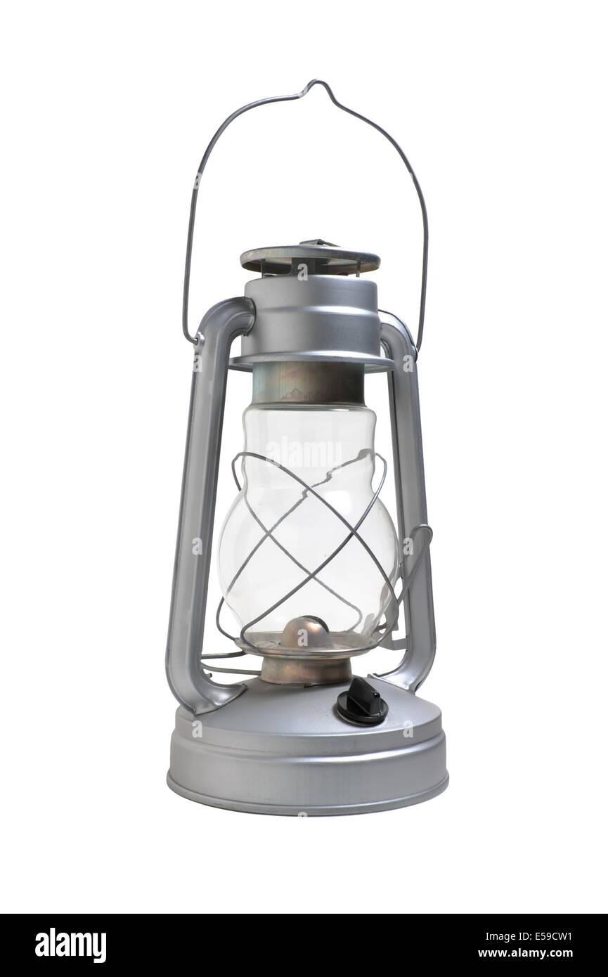 new kerosene lamp isolated on white background - Stock Image