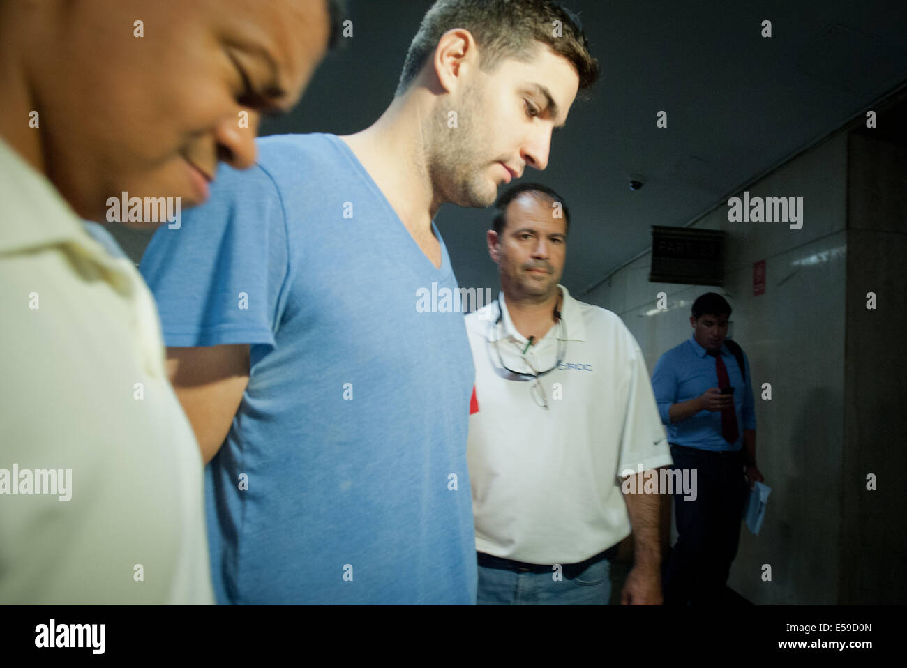 Manhattan, New York, USA. 23rd July, 2014. DANIEL PETRYSZYN arrives for arraignment on charges as Manhattan District - Stock Image